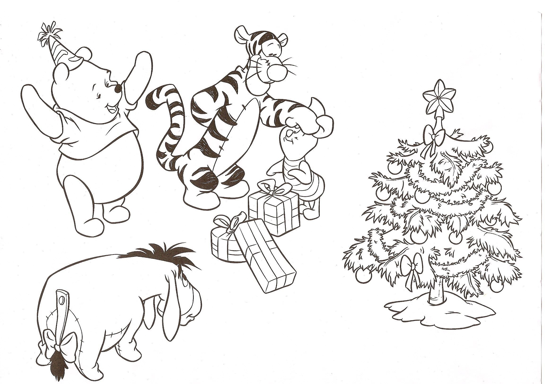 A colorier page 3 - Winnie l ourson noel ...